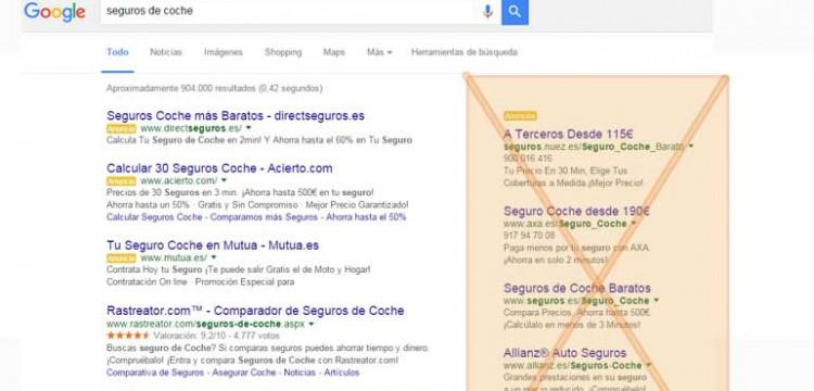Anuncios a la derecha en Google